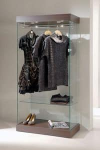 Laminato 131/CA, Modern glass display cabinet, wooden base, spotlights, for clothes shop