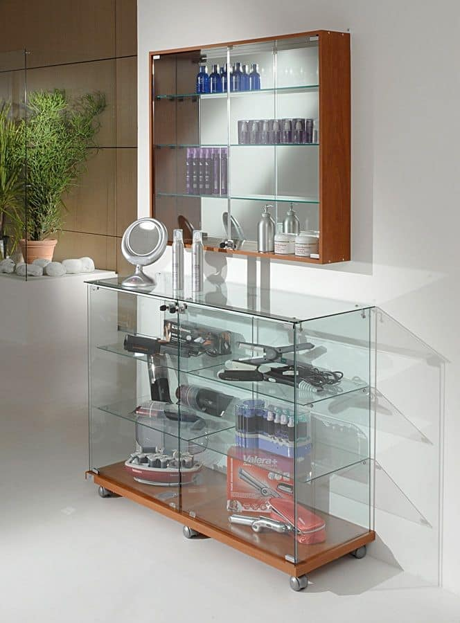 Laminato Light 12/90, Display counter, wooden base with wheels, glass shelves