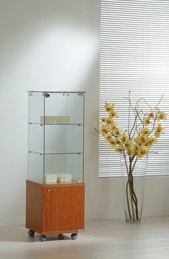Laminato Light 4/14M, Display cabinet, with wooden lower cabinet