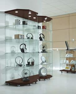 Laminato Light 8/18LT, Illuminated glass cases, base with wheels, displays crystal, to shop