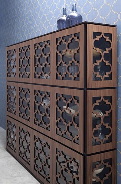 MARRAKESH, Wooden display cabinet in Middle Eastern style