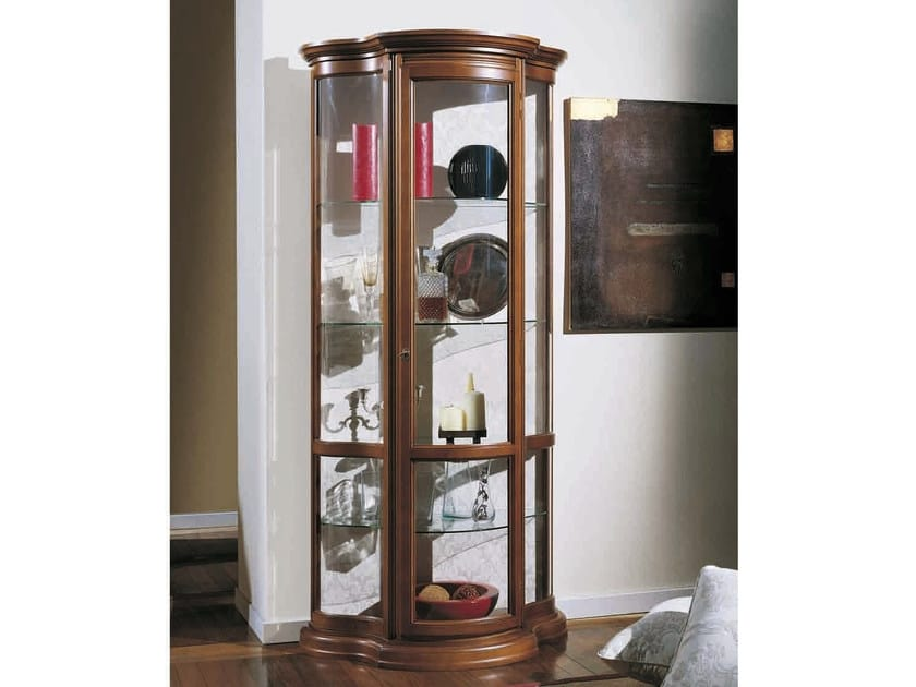 Matilde display cabinet, Classic display case with floral fabric backrest