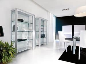 MIAMI display cabinet, Showcase modern in wood, metal and glass, for dining room