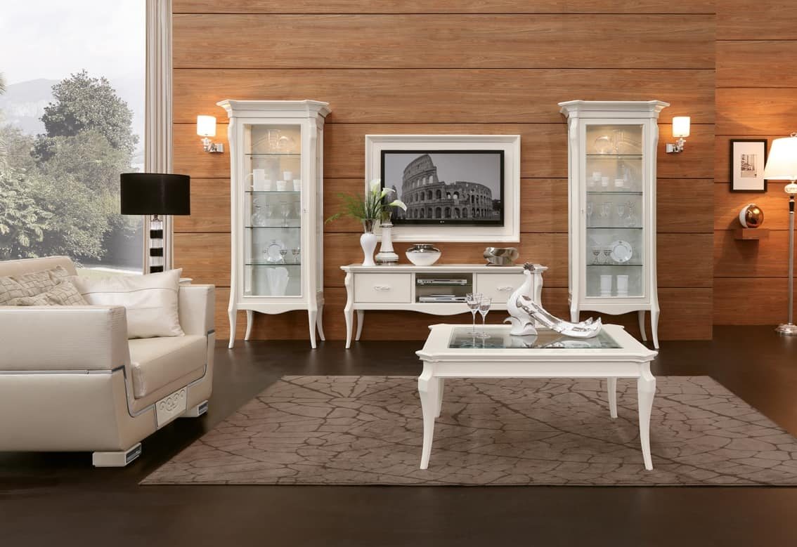 MONTE CARLO / display cabinet with 1 drawer, Elegant showcase for dining room