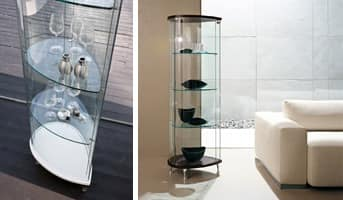 OLIVELLA, Showcase with wooden base, glass shelves, for museum