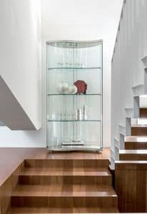 OREGINA, Display cabinet in tempered glass, various finishes