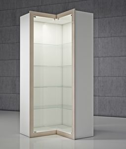 QF/A, Corner display case with integrated lighting