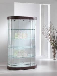 Top Line 9 mod.209/M, Oval showcase, tempered glass, 4 shelves, for stores and living rooms