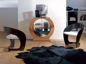 VE29 Obl�, Display cabinet in circle shape with mirror, wood cherry frame