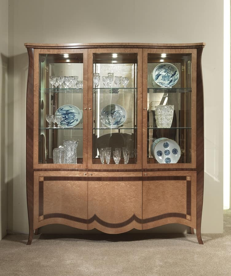 VE46 Charme display cabinet, Display cabinet with 6 doors, inlaid wood, for villas and hotels