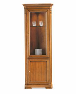 Villa Borghese corner china cabinet 7384, Corner display cabinet in wood and glass