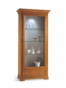 Villa Borghese display cabinet 7372, Display cabinet with one door, with adjustable glass shelves
