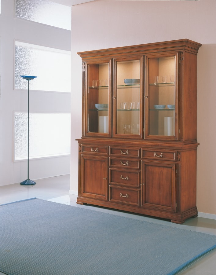 Villa Borghese display cabinet 7375, Large display cabinet, with three doors, in wood and glass