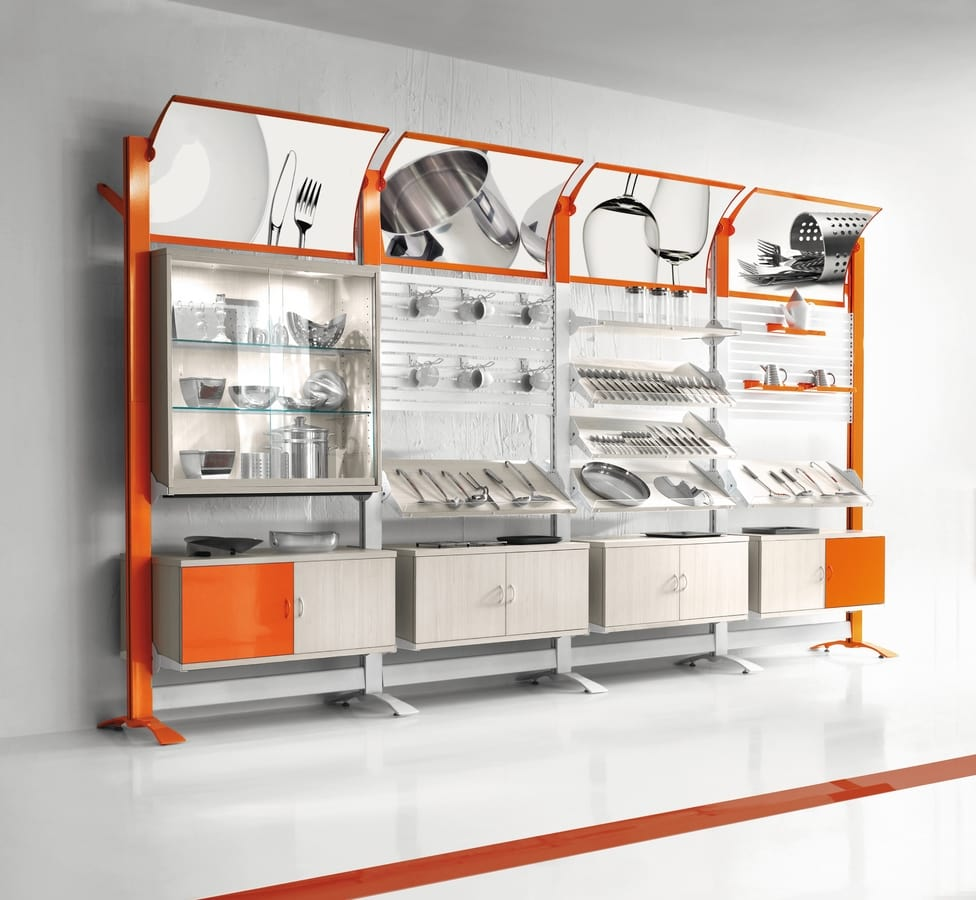 Contemporary - modular wall unit for household stores, Modular wall displays for houseware shops