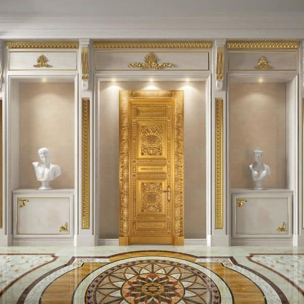 Altair, Luxurious wooden door finely carved, antique gold leaf finish