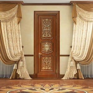 Andromeda, Door carved by hand, with luxurious decorations in gold leaf