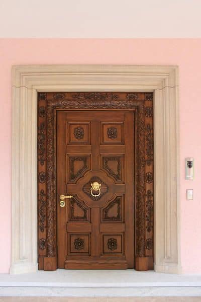 Auriga, Front door in solid oak wood, hand carvings, ideal for castle or villa