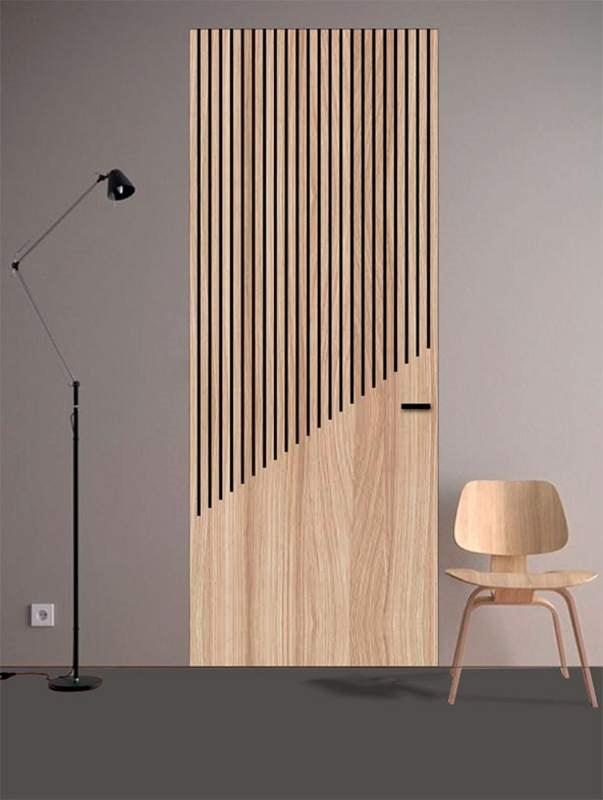 Cascade, Door with linear metal inlays