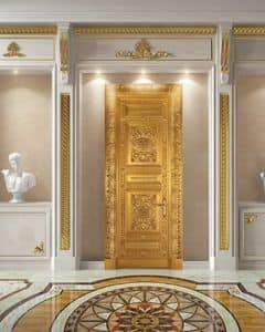 Corona Gold Door entirely decorated in antique gold leaf & Finishings Doors | IDFdesign