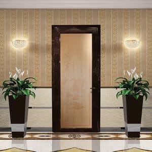 Aries, Solid wood doorwith complanar frame, customizable sandblasting