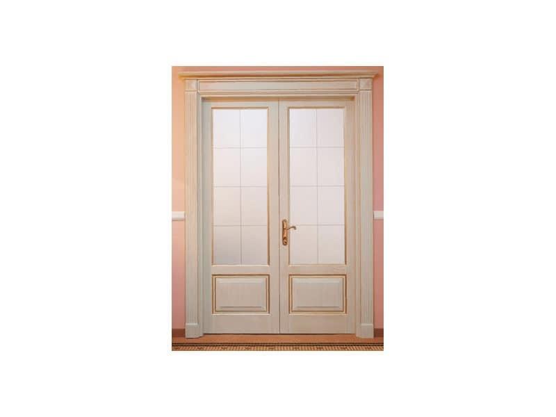 Este 2, Double-wing batten board door, scrape ash finish, for hotel dining room