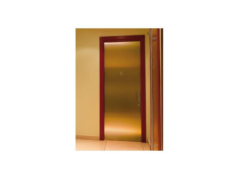 Fortuny, Door in brushed brass, stainless steel handles, for baths of hotels and bars