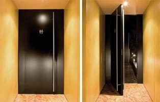 Fusion, Doors with black lacquer finish, for bathrooms of hotel and bar