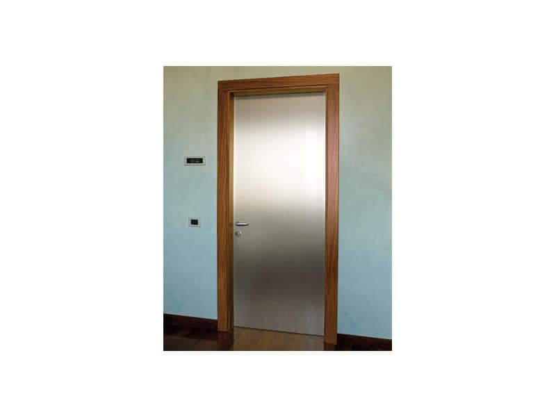 Gallery, Door in brushed aluminum, rosewood frame, for home office and hotel