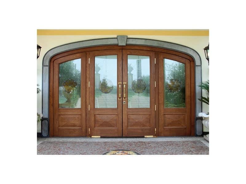 Imperiale Front Door, Entrance door in solid oak, unbreakable glass, floor springs