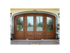 Imperiale Front Door, Entrance door in solid oak, unbreakable glass, floor springs