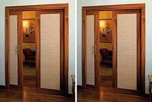 Luxury, Sliding double doors concealed, made in rosewood and fireproof fabric