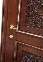 Nadir, Door in walnut, with solid wood carved insert, for hotels and homes