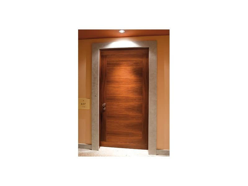 Naviglio, Door for hotel in rosewood, with marble architrave, electronic check opening