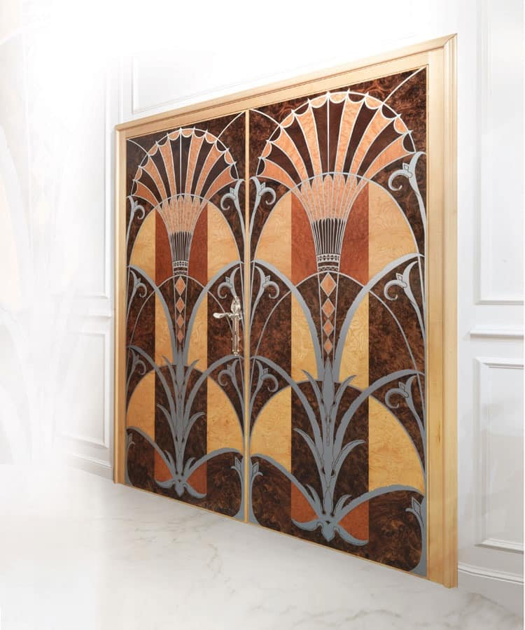 P109 Door, Door with two doors in inlaid wood, for luxury offices