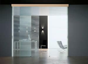 SIMPLEX sliding doors, Sliding door, in tempered glass, different finishes