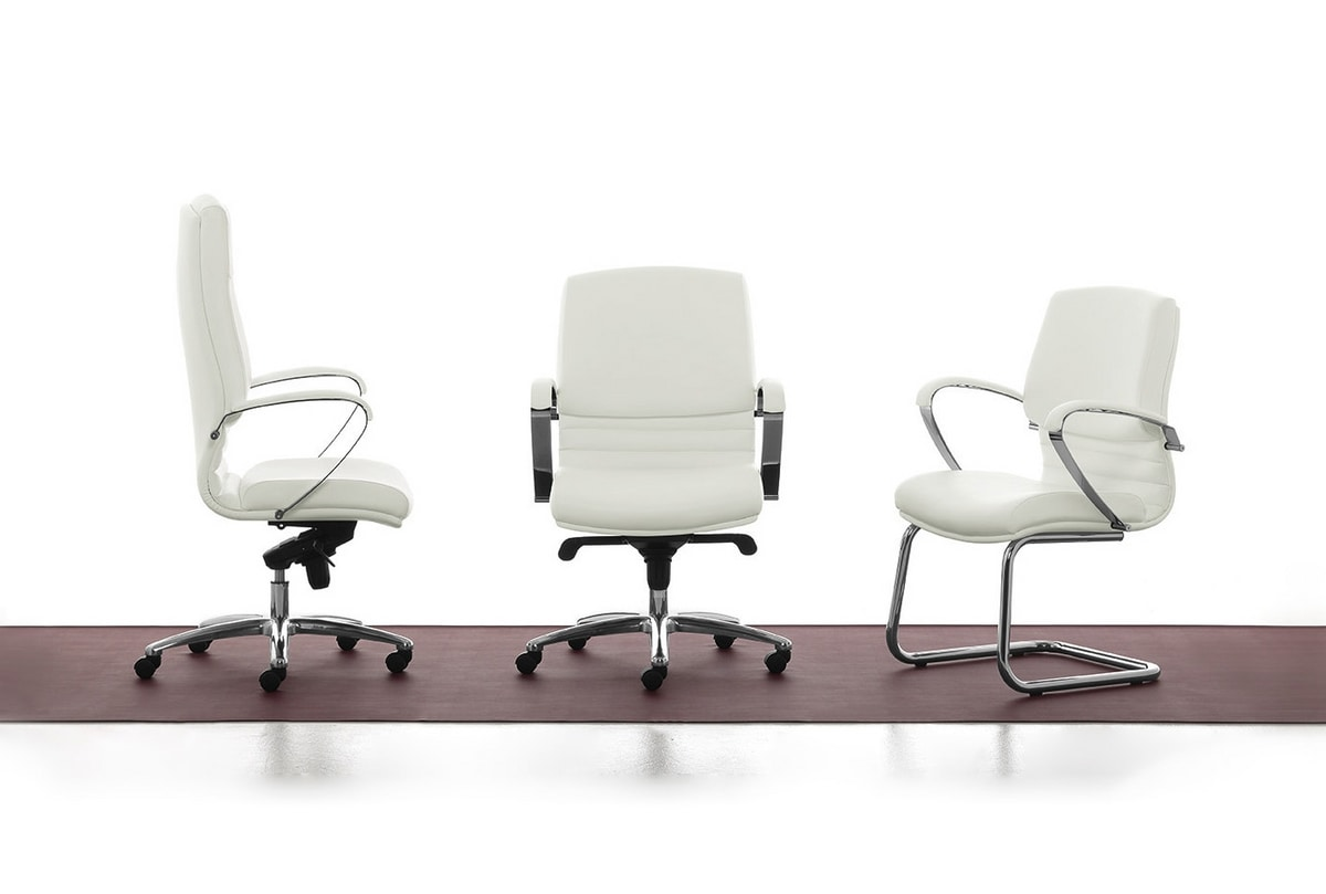 Digital Chrome 01, Directional padded chair with a high back for office
