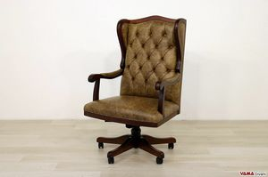 Forum, Executive armchair with armrests, frame and swivel in solid wood