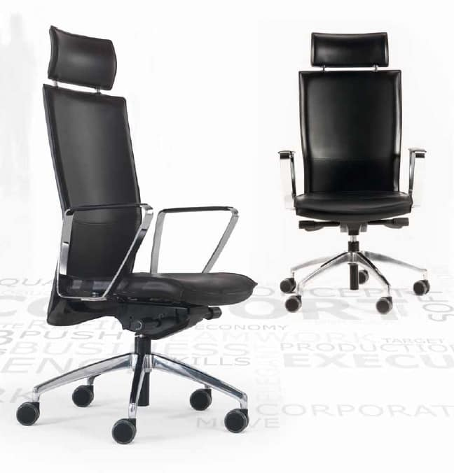Kelly-PA, Leather chair for office, on castors