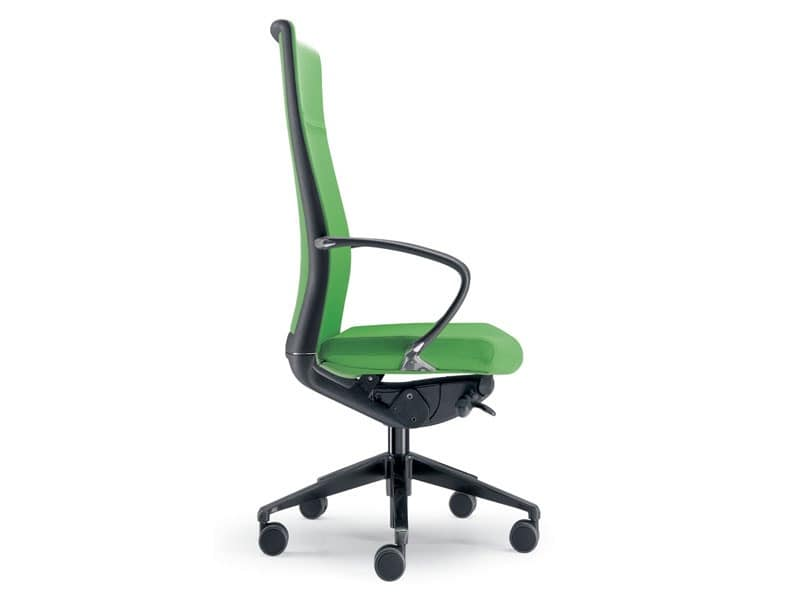 Kompasso, Office armchair on castors with tall backrest