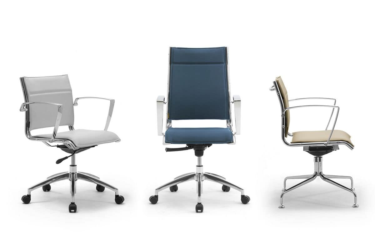 Origami X, Padded chair for office with aluminum armrests