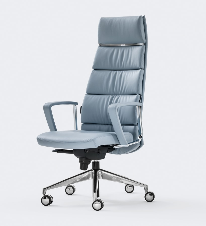 TRENDY FIRST CLASS, Leather armchair, refined design, for manager office