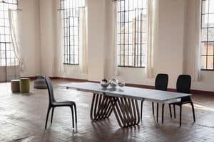 ARPA, Extendable or fixed table, with glass, wood, marble or ceramic top