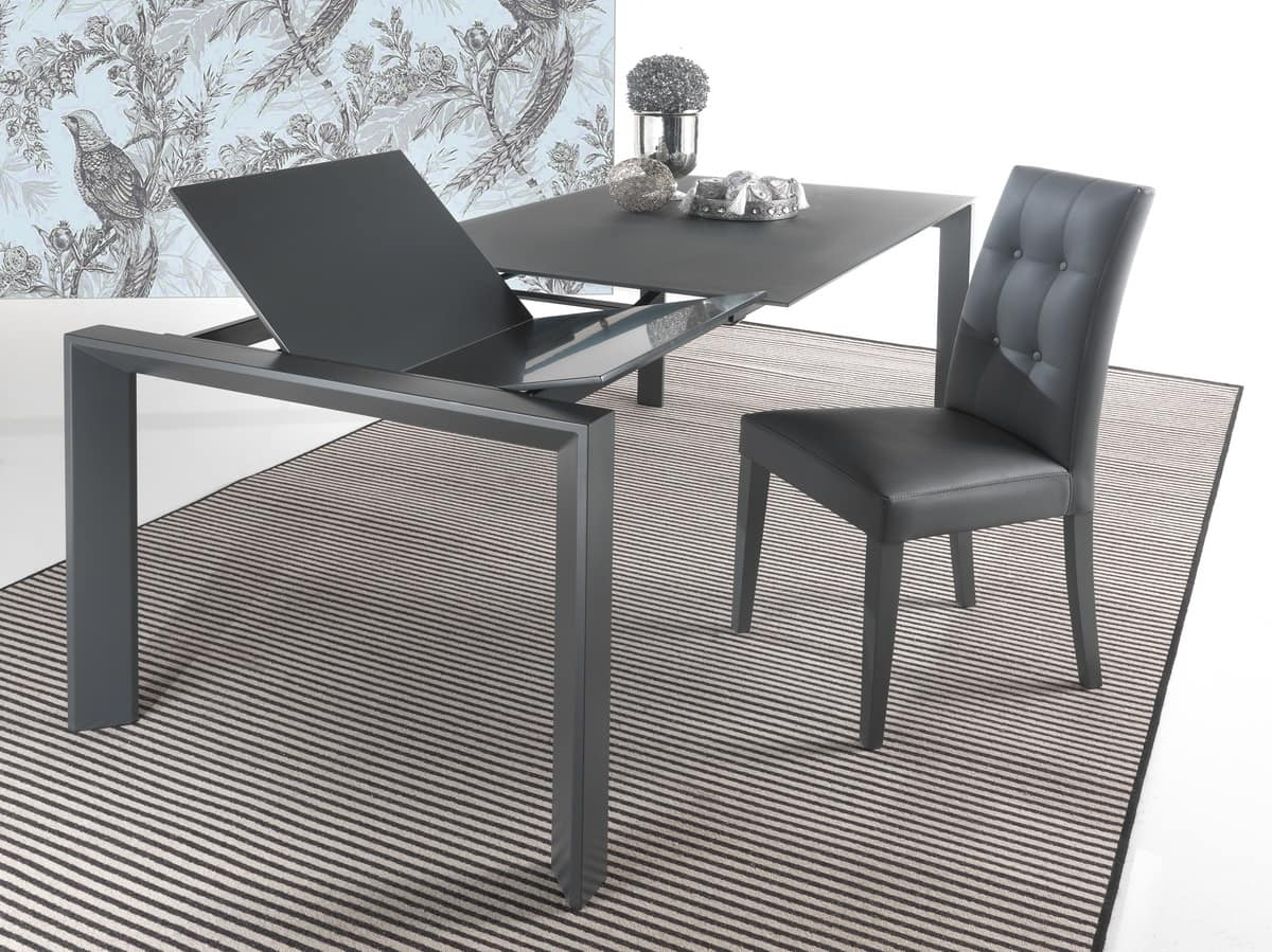 Art. 629 Silver, Modern extendible table with triangular legs