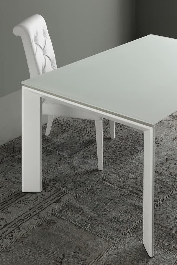 Art. 633 Diamond, Extendable table in metal and glass, for dining room