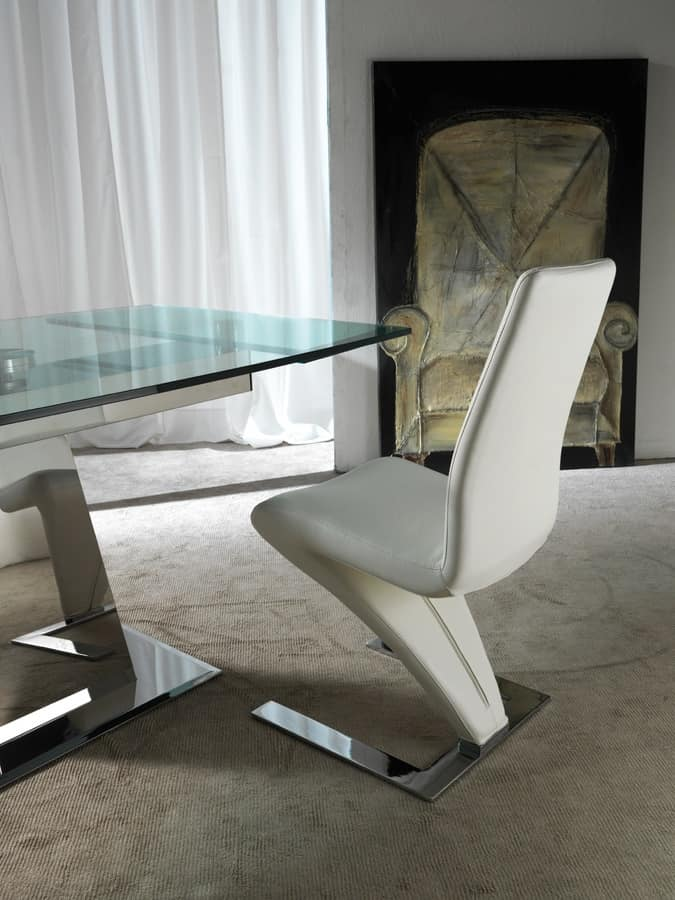 Art. 658 Enterprise, Table in steel and glass, with synchronized extensions