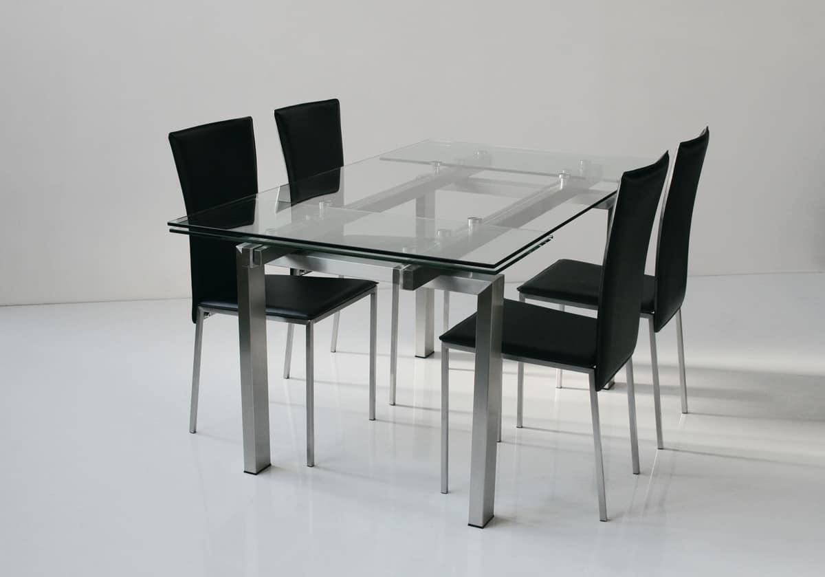 Art. 671 New York, Extending table, top and extensions in tempered glass