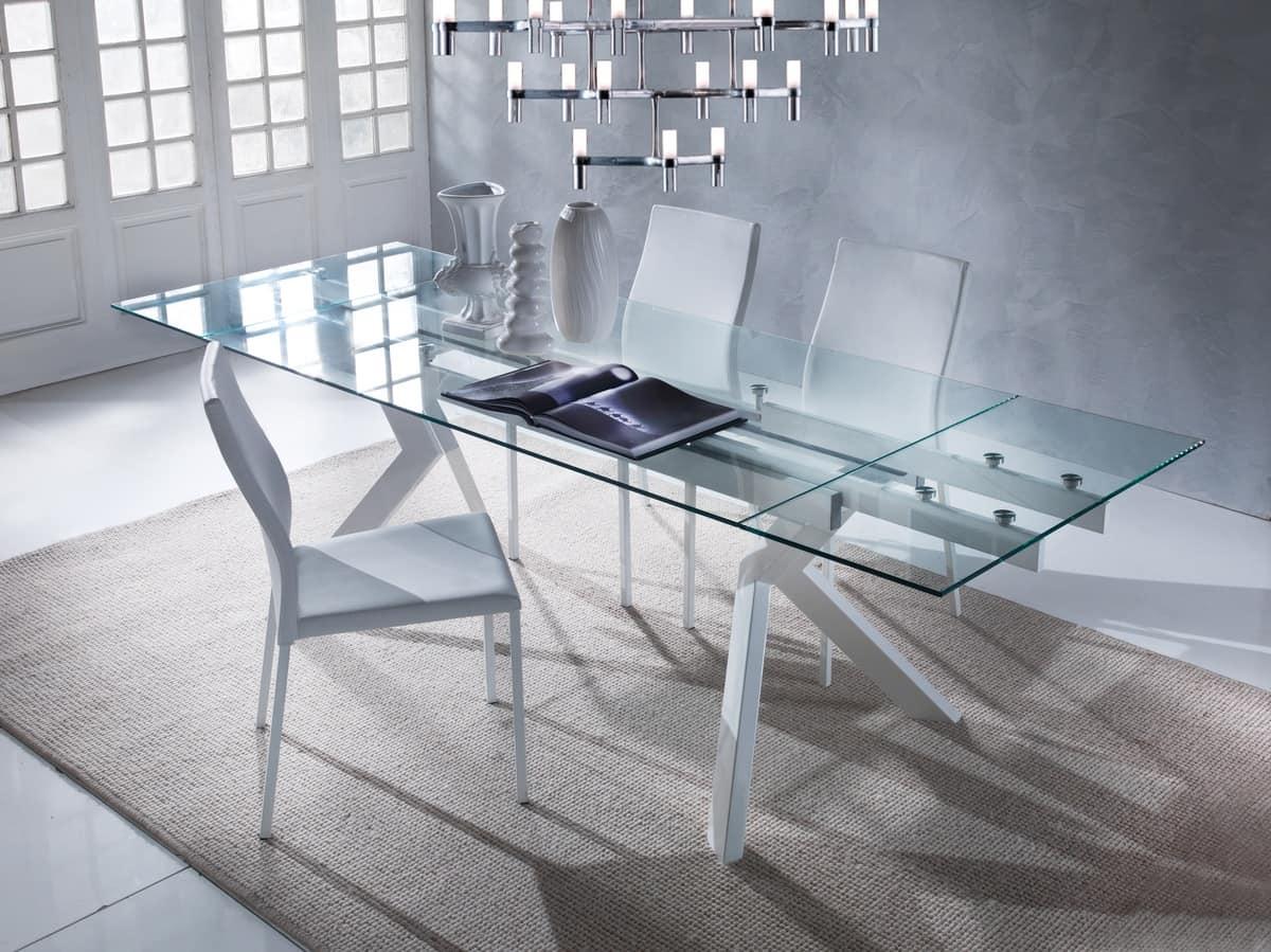 Art. 674 Tokio, Elegant table with glass top, extendable