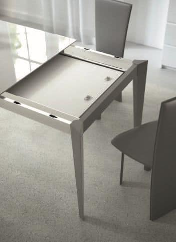 Astro, Extendable table in steel and glass, for modern kitchens