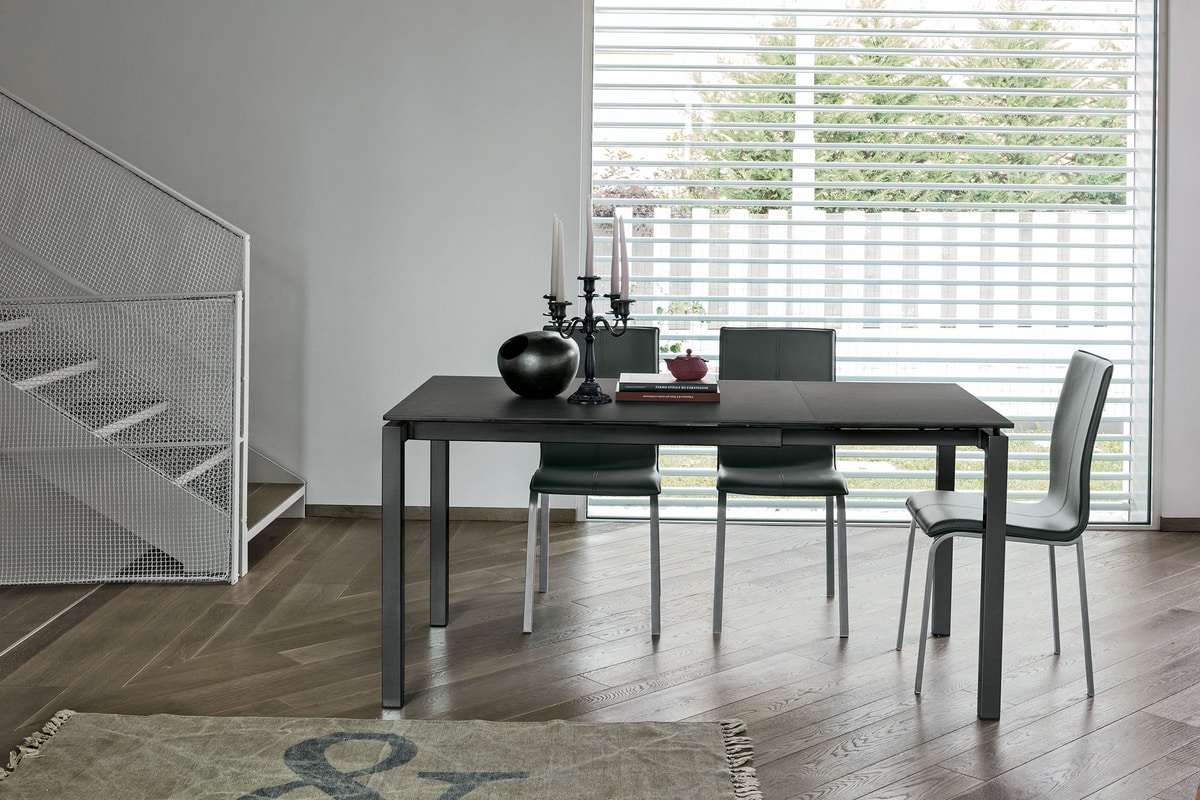 AURIGA 110 TA115, Metal table with glass top suitable for modern kitchen