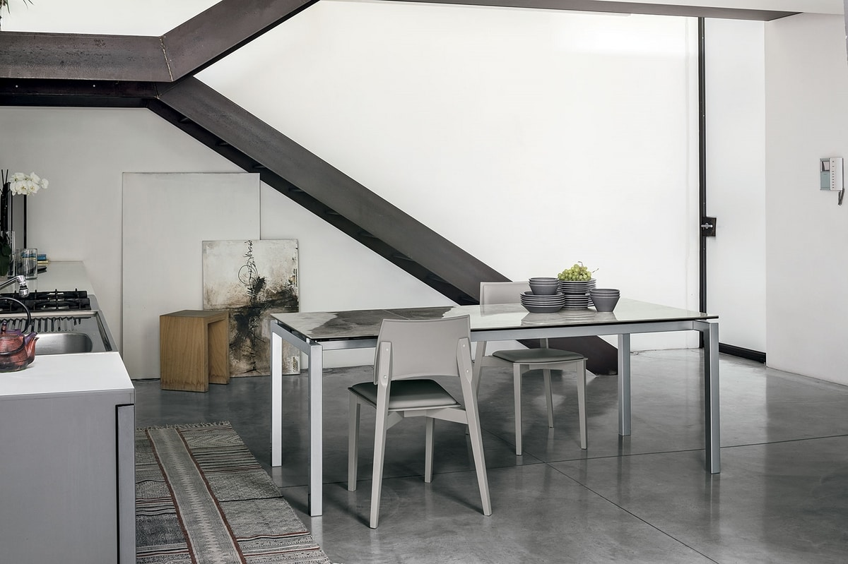 AURIGA 140 TA114, Rectangular table with glass extensions